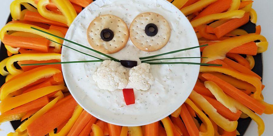 Djungelkalas grönsaksfat i form av lejon